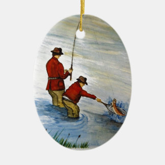 Father and son fishing trip ceramic ornament