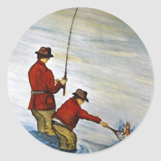 Father and son fishing trip classic round sticker