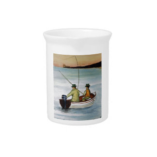 Father and son fishing trip drink pitcher