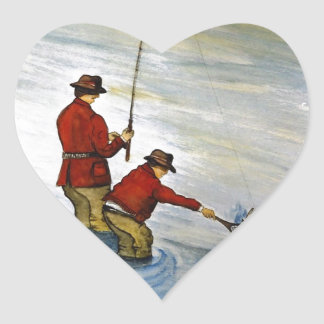 Father and son fishing trip heart sticker