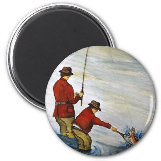 Father and son fishing trip magnet