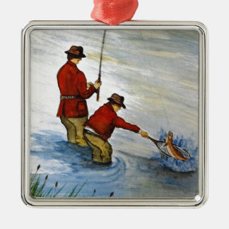 Father and son fishing trip metal ornament
