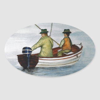 Father and son fishing trip oval sticker