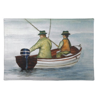 Father and son fishing trip placemat