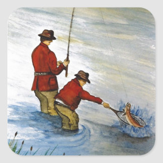 Father and son fishing trip square sticker