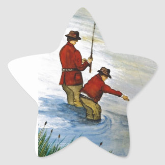 Father and son fishing trip star sticker