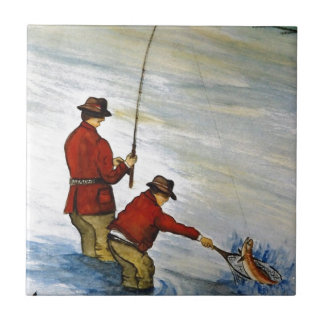 Father and son fishing trip tile