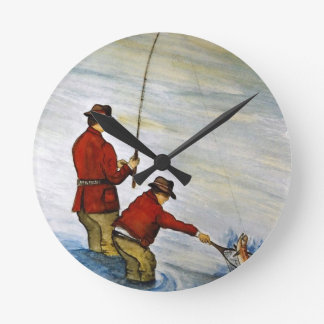 Father and son fishing trip wallclock