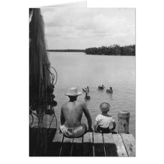 Father and Son, Marco Island, Florida, 1966 Card