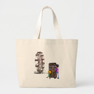Father and Son ready to ride a Ferris Wheel Large Tote Bag