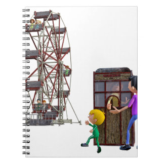 Father and Son ready to ride a Ferris Wheel Notebooks