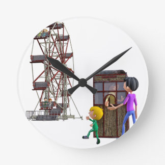 Father and Son ready to ride a Ferris Wheel Wallclocks