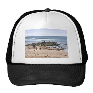 Father and Son Strolling Montauk Beach Trucker Hat