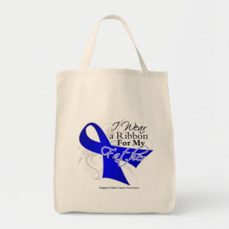 Father Blue Ribbon - Colon Cancer Grocery Tote Bag