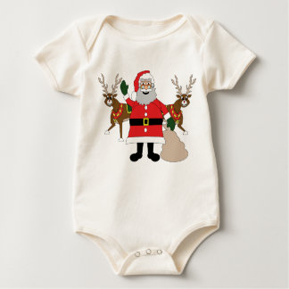 Father Christmas and caribou Baby Bodysuit