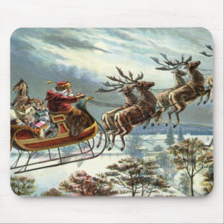 Father Christmas and his reindeer Mouse Pad