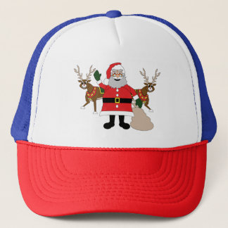 Father Christmas and his reindeers Trucker Hat