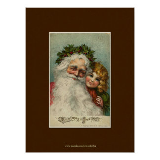 Father Christmas & Child Vintage Art Poster