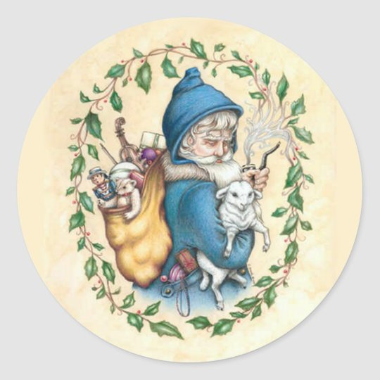 Father Christmas Classic Round Sticker