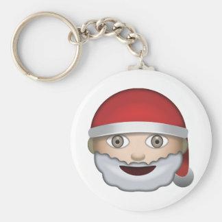 Father Christmas Emoji Basic Round Button Keychain