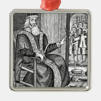 Father Christmas trial Silver-Colored Square Ornament