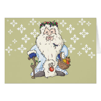 Father Christmas w/blue gloves and a dragonfly Card