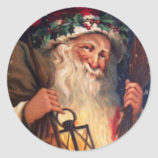 Father Christmas with Lantern Classic Round Sticker