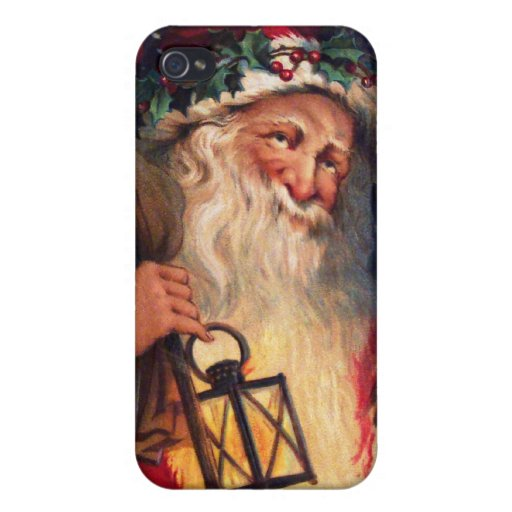 Father Christmas with Lantern iPhone 4 Cover