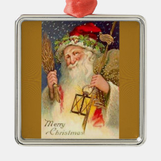 Father Christmas With Wheat And Lantern Metal Ornament