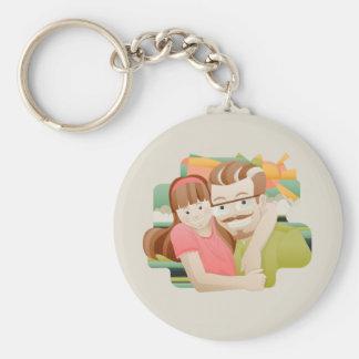 Father & daughter basic round button keychain