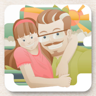 Father & daughter drink coaster