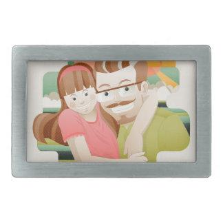 Father & daughter rectangular belt buckles