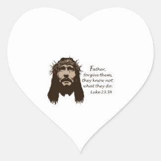 FATHER FORGIVE THEM HEART STICKER