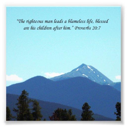 Father Gift Proverbs 20:7 Scripture Mountain Print Photo