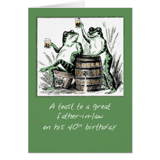 Father-in-Law 40th Birthday Frogs Toasting with Be Card