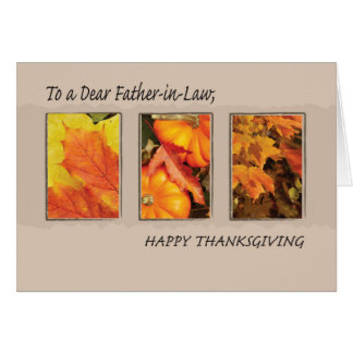 Father-in-Law Religious Three Leaves Thanksgiving Card