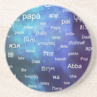 Father in many different world languages - Blue Beverage Coaster
