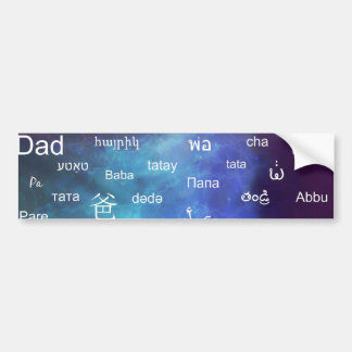 Father in many different world languages - Blue Bumper Sticker