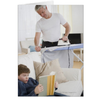 Father ironing card