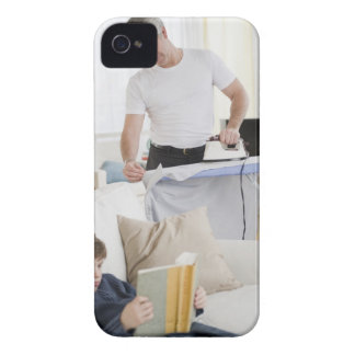 Father ironing iPhone 4 case