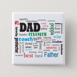 Father Mentor Coach Word Cloud 2 Inch Square Button