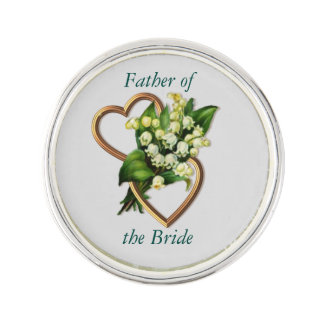 Father of the Bride, Customizable text, with Lily Lapel Pin