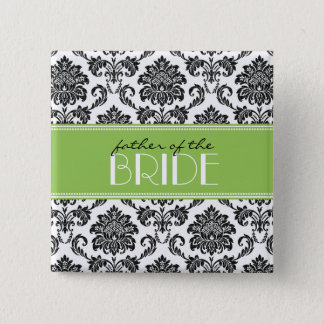Father Of The Bride Damask Button in Apple Green
