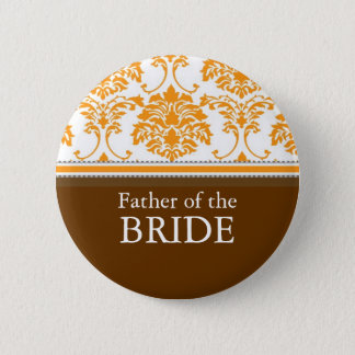 Father of the Bride Orange damask Button