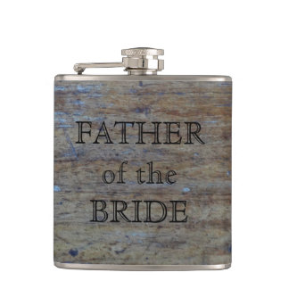 Father of the Bride | Rustic Wedding Wood Grain Flasks