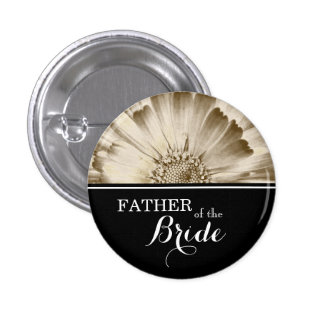 Father of The Bride Wedding Gold Daisy 1 Inch Round Button