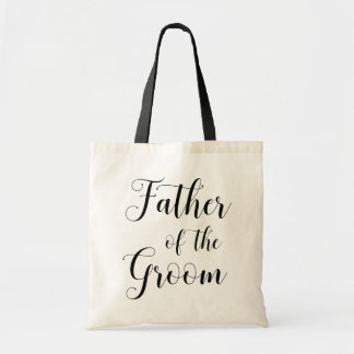Father of the groom. Black and white wedding bag