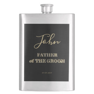 Father of The Groom Black Gold Glitter Typography Hip Flask