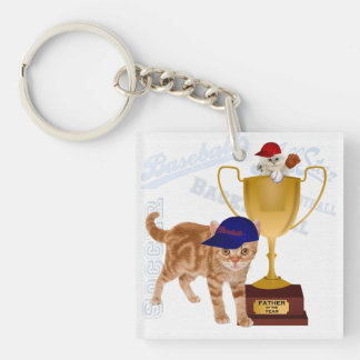 Father of the Year Sports Cats with Your Photo Keychain