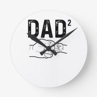 Father Of Two Daughters Or Sons Mens Fathers Day T Round Clock